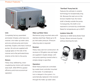 4200 boiler product features condensate return pump sterling